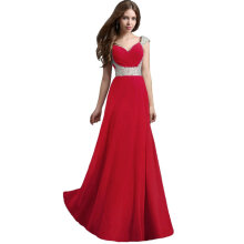 Sexy Women Dress with Sequins Long Chiffon Dress Gown for Wedding Party Red Size S