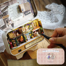 Jantens In A Happy Corner 3D Wooden DIY Handmade Box Theatre Dollhouse Miniature Box Pink