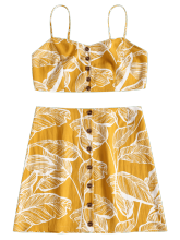 Fashionmall Printed Button Up Skirt Set