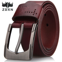 ZDXN Fastener retro fashion jeans belt - Brown/Black(110-125cm)