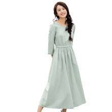 INMAN 1881104197 Dress 2018 Spring New Cotton and Hemp Frock Dress with A Seven-part Sleeve Hemp Cotton Dress