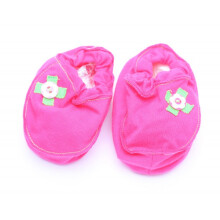 Cribcot Booties with Ribbon - Hot Pink & Lime Green  3-6M