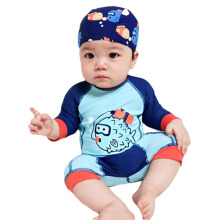 SBART 1-12Y Child Boy Swimsuit Rashguard Summer Kids Baby Swimwear Bathing Suit Beachwear (Hat+Suit)