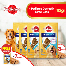 [isi 4 Pack] Pedigree Dentastix Large Dogs 112gr Perawatan Gigi Anjing Free 1 dentastix