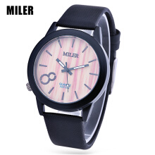 MILER 83125 Unisex Quartz Watch Luminous Pointer Leather Band Daily Water Resistance Wristwatch