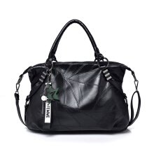 Jantens Women Black Leather Large Tote Casual Shoulder Bag Brand Designer Handbag Crossbody Bag Black