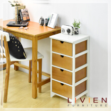LIVIEN FURNITURE- Meja Sudut Nakas 4 Laci Cubic Series - Side Table Brown