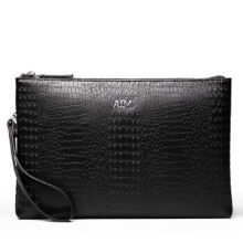AIM S003 Simple large-capacity clutch bag leather envelope bag male hand bag holder bag-Black