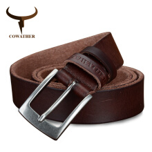 COWATHER top cow genuine leather men belts newest arrival three color hot design jeans belt