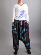 Ethnic Print Patchwork Elastic Waist Women Lantern Pants Printed  One Size
