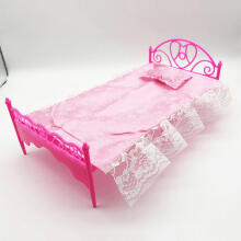 Farfi Miniature Doll Accessory Simulation Lace Bed Dollhouse Furniture Children Gift Pink