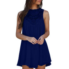 Women Casual Solid Lace Stitching O-Neck Sleeveless Chiffon Party Mini Dress_Navy Blue_S