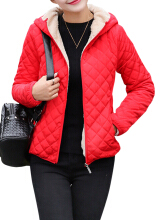 Zanzea 0051Casual Solid Thick Fleece Hooded Women Short Coats  Red 8