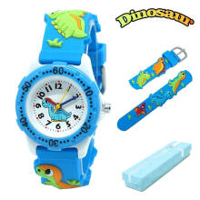 Keymao Dinosaur Waterproof 3D Cute Cartoon Silicone Wristwatches Gift for Little Girls Boy Kids Children Blue