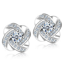 SESIBI Classic Cubic Zircon Crystal Flower Tiny Elegant Stud Earrings for Women One Size - Silver