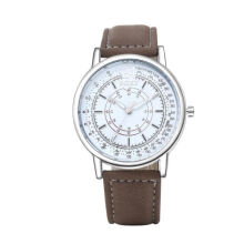 BANGLONG Fashion Business Hand Watches Brown Leather Strap Watch -Onesize - Silver