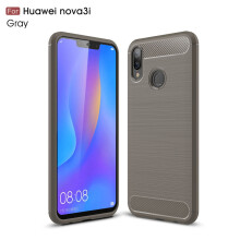 RockWolf Huawei nova 3i case Luxury brushed carbon fiber TPU soft shell phone case