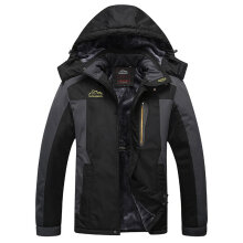 Men Women Winter Skiing Hooded Jacket Outdoor Mountaineering Windbreaker Coat black XL