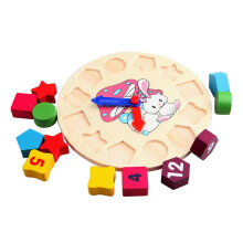 Cartoon Rabbit Shape Children Wooden Puzzle Toy Clock Building Blocks Toy Multicolor