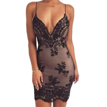 SiYing Sexy European and American women's suspenders halter sequin dress