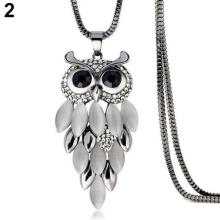 Farfi Women's Lovely Owl Pendant Rhinestone Long Sweater Box Chain Necklace Jewelry