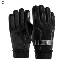 Farfi 1 Pair Winter Warm Motorcycle Cycling Outdoor Windproof Men's Full Finger Gloves