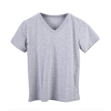 Women Summer Leisure Casual V-neck Basic Colors Sleeved Classic Ladies T-shirt grey S