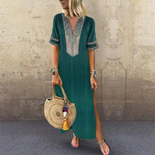 Women's Printed Long Sleeve V-neck Maxi Dress Hem Baggy Kaftan Long Dress_S