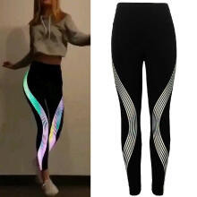 Women Neon Rainbow Leggings Fitness Sports Gym Running Yoga Athletic Pants_Black_L