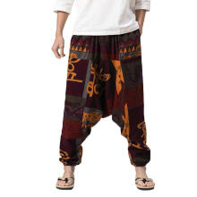 Men's Harem Pants Cotton Linen Festival Baggy Boho Trousers Retro Gypsy Pants_XL