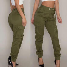 Womens Cargo Trousers Casual Pants Military Army Combat Solid Pants Pocket Pants_Green_L