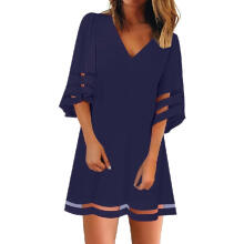 【Cabigesh】Women's V Neck Mesh Panel Blouse 3/4 Bell Sleeve Loose Top Shirt Dress Atasan Wanita_NYL