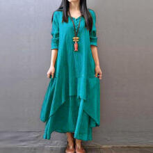 Women Casual Loose Long Sleeve Cotton Linen Boho Long Dress Irregular Dress_Green_XXXXXL