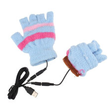 Unisex Electric USB Heatting Color Hand Warming Fingerless USB Cable Gloves blue