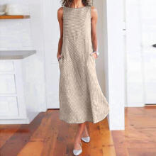 Women Casual Striped Print Sleeveless Dress Crew Neck Linen Pocket Long Dress_L
