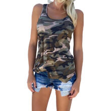 Fashion Beauty Women's Casual Army Camo Camouflage Tank Top Summer O-Neck Sleeveless T-Shirt Camouflage S