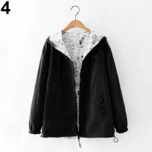 Fashion Beauty Women Autumn Patchwork Blouse Coat Casual Slim Fit Fashion Sports Hooded Outwear