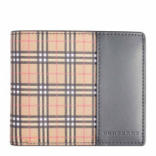 BURBERRY Men's Black Leather Wallet In Vintage Check 4080178