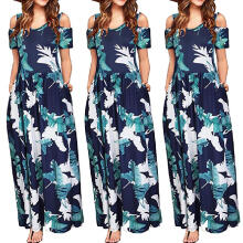 Maodapa Women Summer Cold Shoulder Floral Print Elegant Maxi Long Dress Pocket Dress