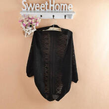 Fashion Beauty Lady Puff Sleeve Cardigan Knitted Hollow Top Sweater Casual Loose Outwear Coat