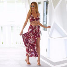 Maodapa Women Beach Bohemian Print Dress  Bandage Dress Clothing Red XXL