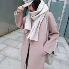 2017 Autumn Winter Fashionable Women Lady Long Style Coat Woolen Overcoat lotus pink S