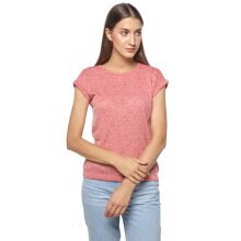 FACTORY OUTLET LO1709-0005 Women T-shirt SS 42D1 Pink - Pink