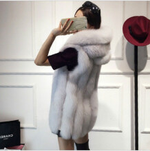 Shopping Funny - 2018 new fur vest imitation silver fox fur coat hooded vest vertical stripes in the long vest large size (Freeshiping) White XS