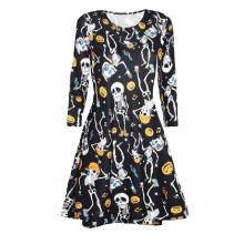 Maodapa Women Halloween Printing Long Sleeve Casual Evening Party Prom Dress