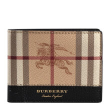 BURBERRY Men's Espresso Brown Leather Wallet In Vintage Check 4065233