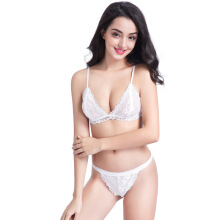 Keness European and American French lace no steel ring triangle cup sexy underwear light breathable sweat girl bra White S