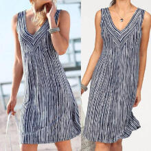 Maodapa Fashion Women Casual V-Neck Sleeveless Stripe Print Dress