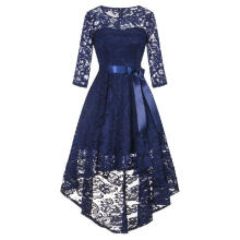 Womens Long Sleeve Formal Ladies Wedding Bridesmaid Lace Long Dress_Blue_M