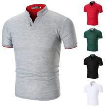 ATA FUN TC Fashion Mens Dress Casual Slim Fit Short Sleeve Polo Shirts -White Cotton !!! gray M trend Slim Grey M